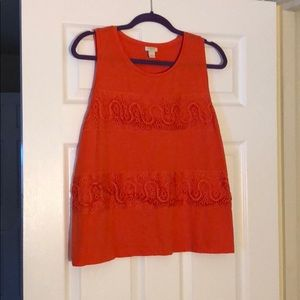 Peach Tank Top with Lace